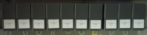 State Council of Churches re-labeled and ready to be placed on their permanent shelves.
